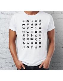 Cestovné tričko s ikonami - biele